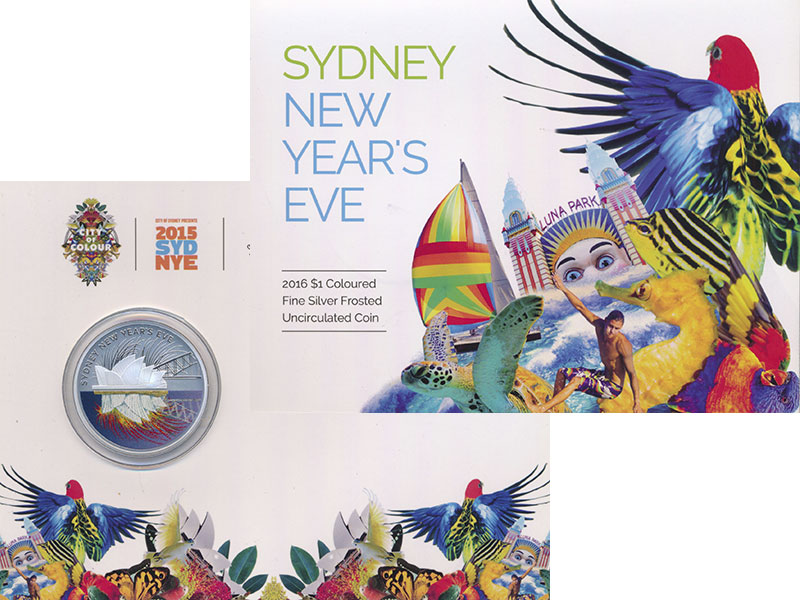 Изображение Подарочные монеты Австралия 1 доллар 2016 Серебро UNC Сидней в канун Новог