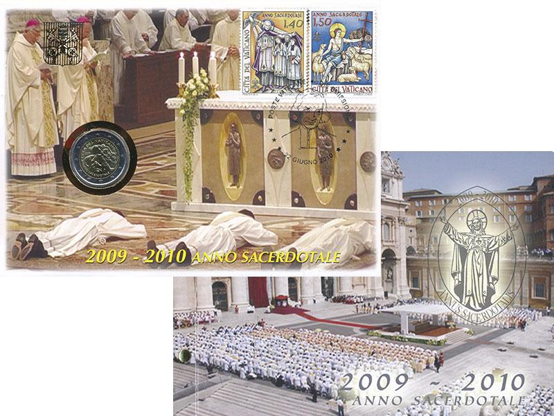 Изображение Подарочные монеты Ватикан 2 евро 2010 Биметалл UNC Год священника. Ориг