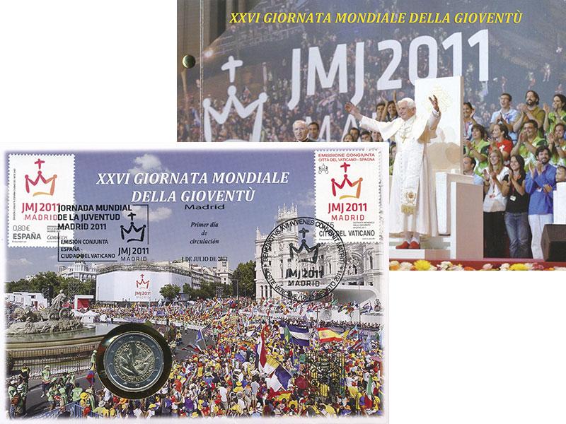 Изображение Подарочные монеты Ватикан 2 евро 2011 Биметалл UNC XXVI Всемирный день