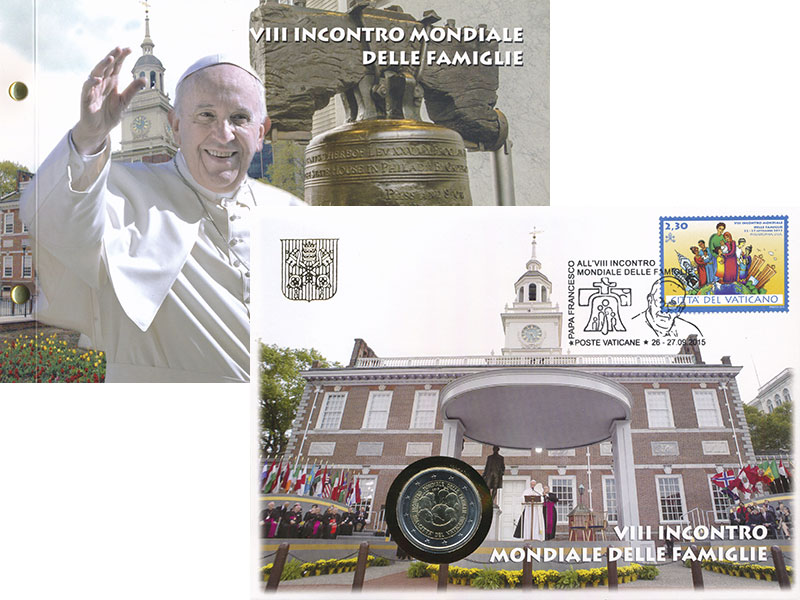 Изображение Подарочные монеты Ватикан 2 евро 2015 Биметалл UNC Встреча семей в Фила