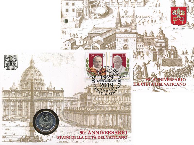 Изображение Подарочные монеты Ватикан 2 евро 2019 Биметалл UNC 90-летие государства
