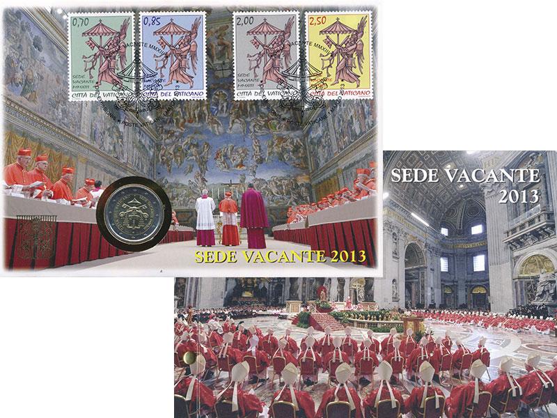 Изображение Подарочные монеты Ватикан 2 евро 2013 Биметалл UNC Свободный престол. О