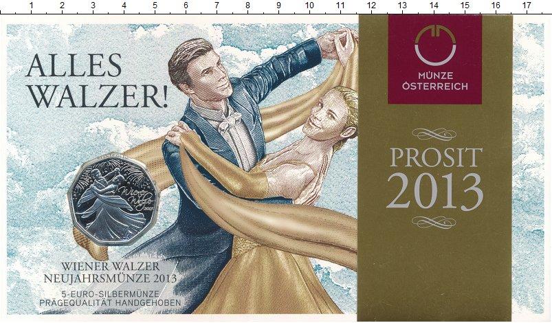 Изображение Подарочные монеты Австрия 5 евро 2013 Серебро UNC Венский вальс. Ориги
