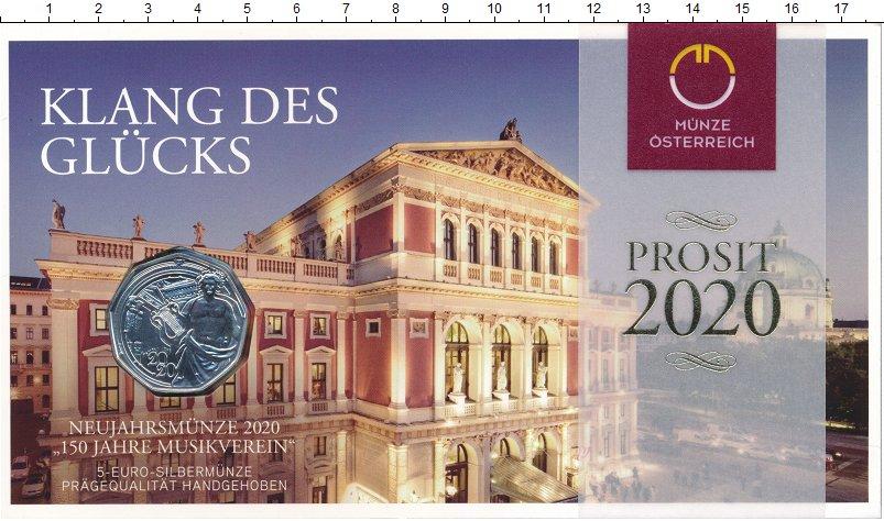 Изображение Подарочные монеты Австрия 5 евро 2020 Серебро UNC Венская филармония.