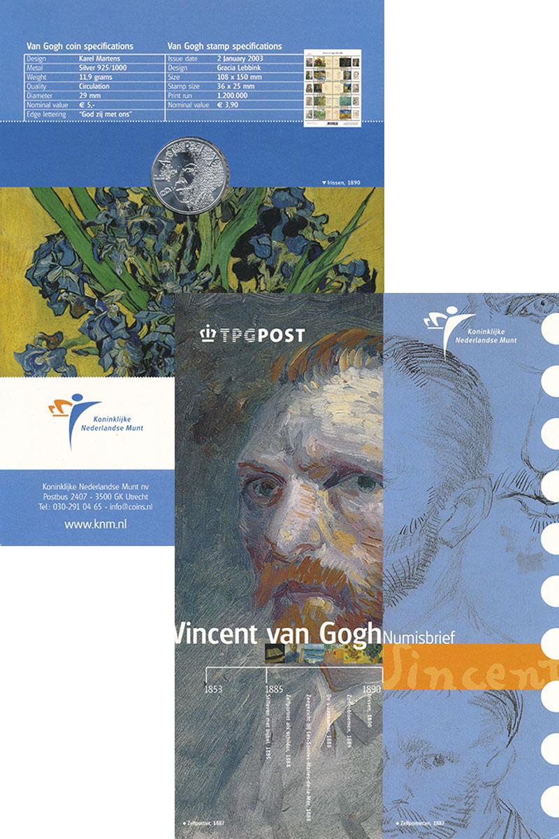 Изображение Подарочные монеты Нидерланды 5 евро 2003 Серебро UNC Винсент ван Гог. Ори