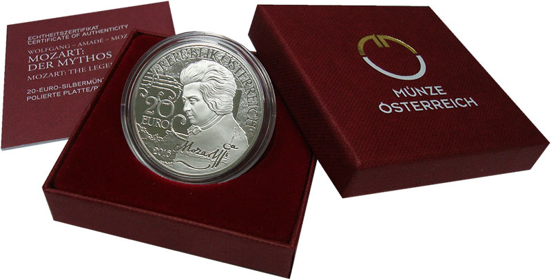 Изображение Подарочные монеты Австрия 20 евро 2016 Серебро Proof Моцарт. Оригинальная