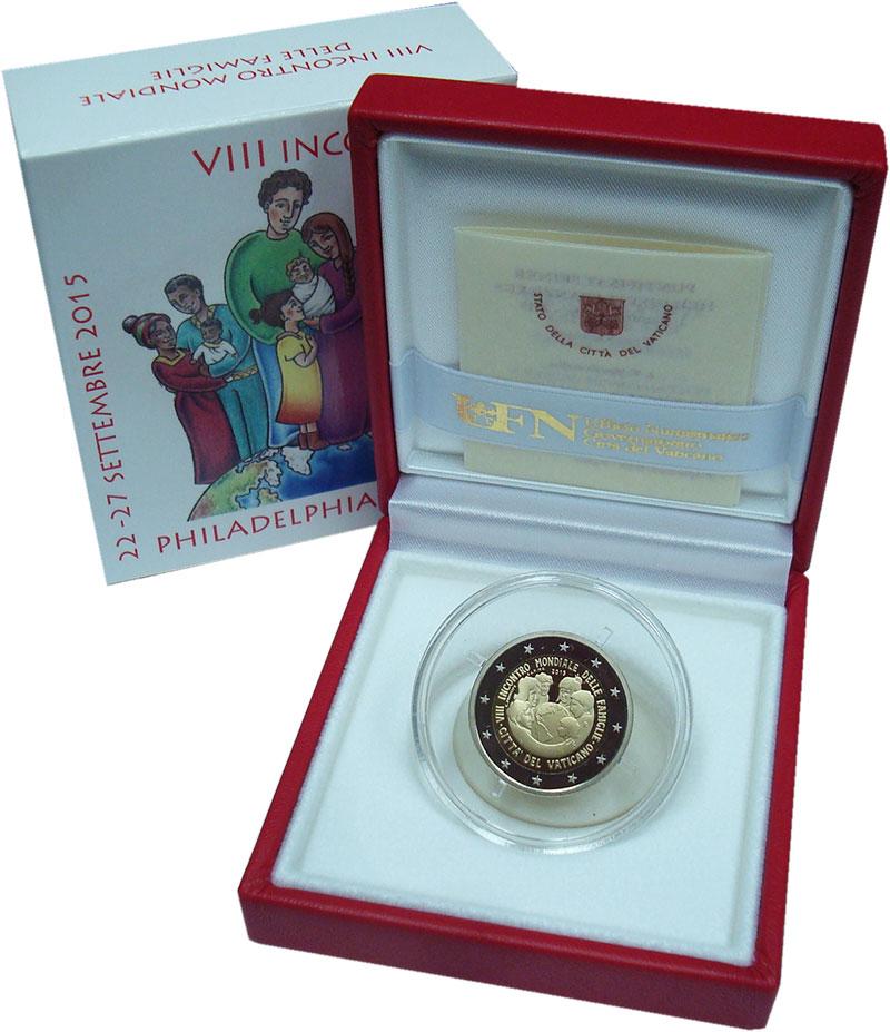 Изображение Подарочные монеты Ватикан 2 евро 2015 Серебро Proof VIII Всемирная встре