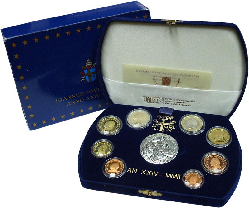 Изображение Подарочные монеты Ватикан Набор 2002 года 2002  Proof Набор из 8 монет от