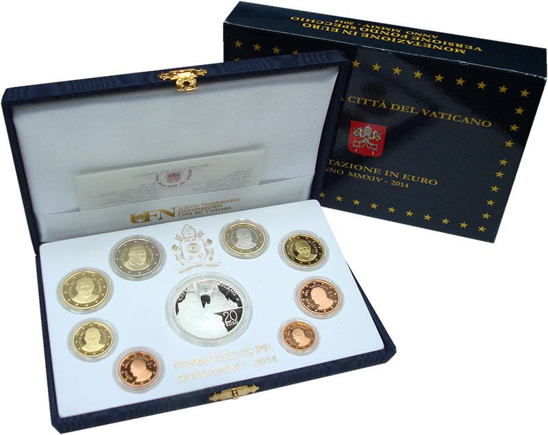 Изображение Подарочные монеты Ватикан Набор 2014 года 2014  Proof Набор из 8 монет от