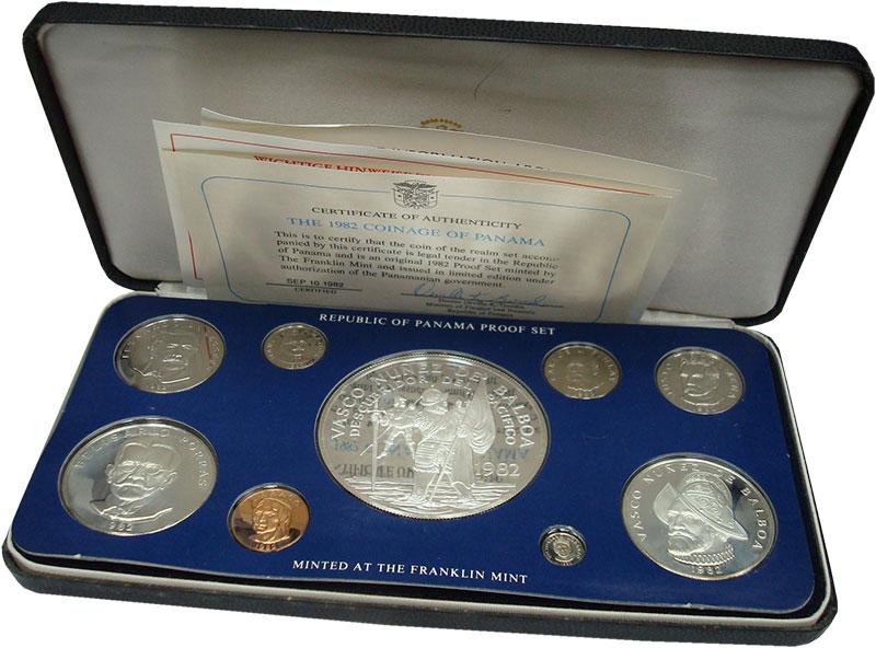 Изображение Подарочные монеты Панама Набор 1982 года 1982  Proof Набор из 9 монет от
