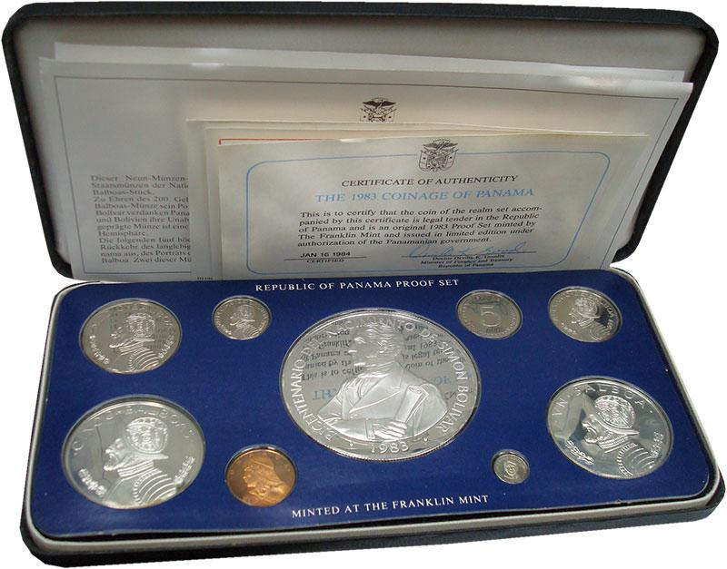 Изображение Подарочные монеты Панама Набор 1983 года 1983  Proof Набор из 9 монет от