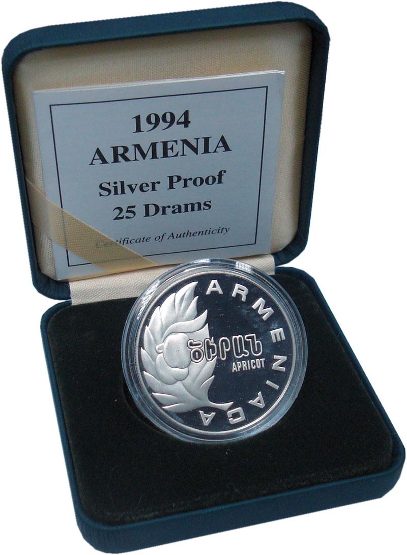 Изображение Подарочные монеты Армения 25 драм 1994 Серебро Proof Абрикос. Оригинальна