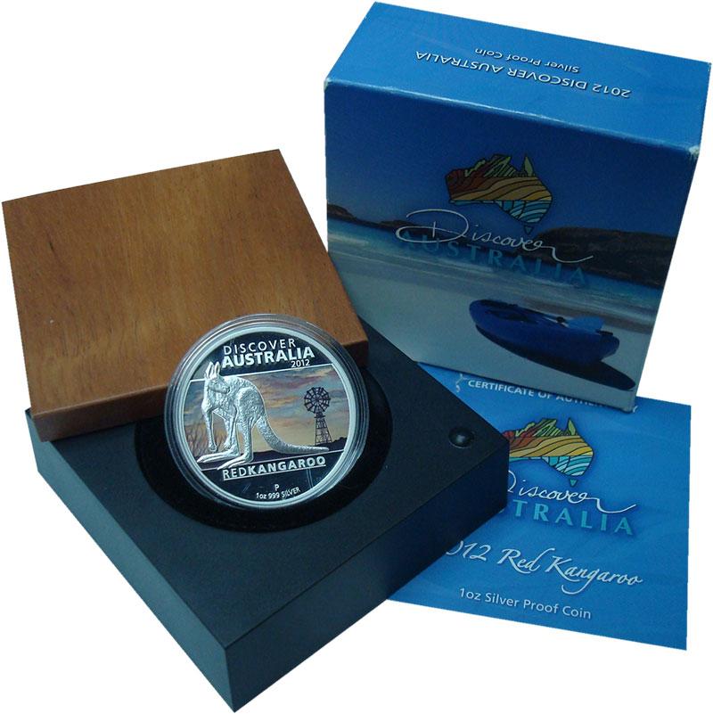 Изображение Подарочные монеты Австралия 1 доллар 2012 Серебро Proof Красный Кенгуру. Ори