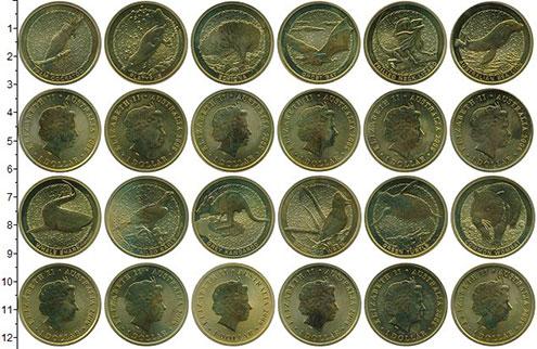 Изображение Наборы монет Австралия 1 доллар 2008 Латунь UNC В наборе 12 монет но