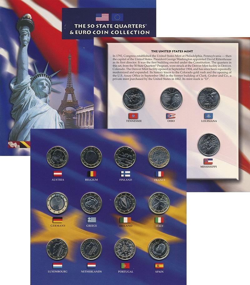 Изображение Подарочные монеты США Квотеры и Евро 2002  UNC Набор из 5 монет США