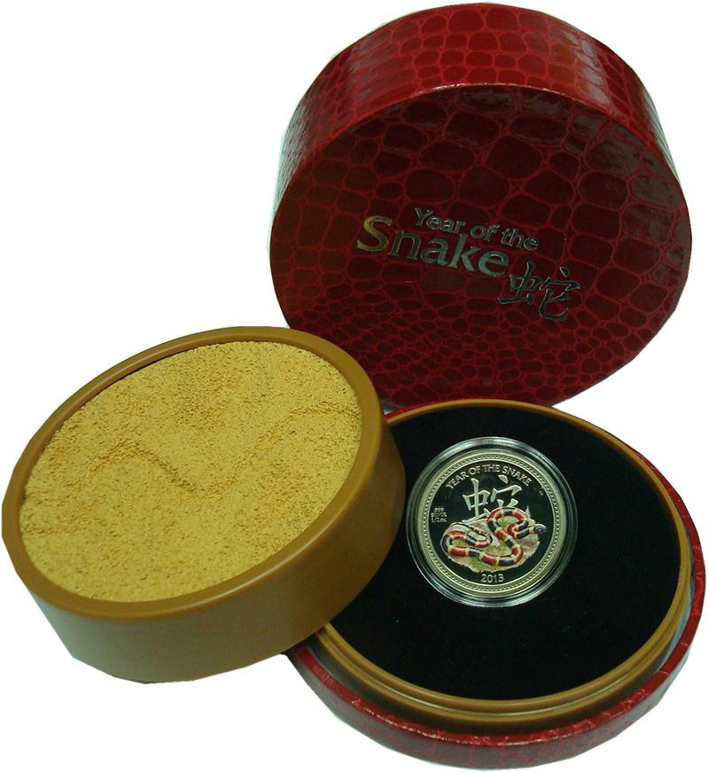 Изображение Подарочные монеты Ниуэ 1 доллар 2013 Серебро Proof- Год Змеи. Оригинальн