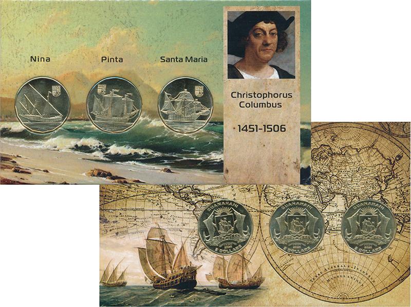 Изображение Подарочные монеты Багамские острова Христофор Колумб 2020 Латунь UNC UNUSUAL. Остров Гуан