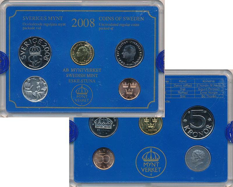 Изображение Подарочные монеты Швеция Набор 2008 года 2008  Proof Набор из 4 монет от