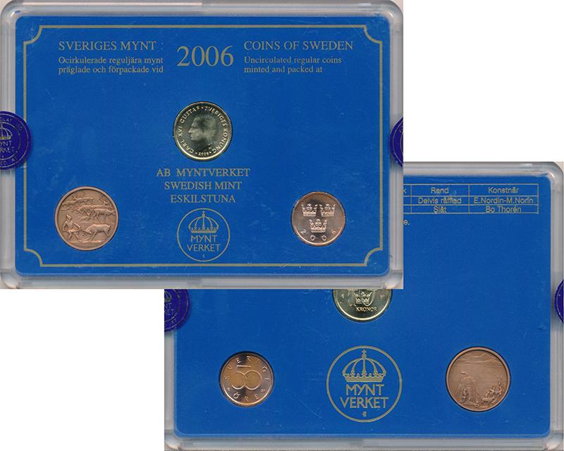 Изображение Подарочные монеты Швеция Набор 2006 года 2006  Proof Набор из 2 монет  50