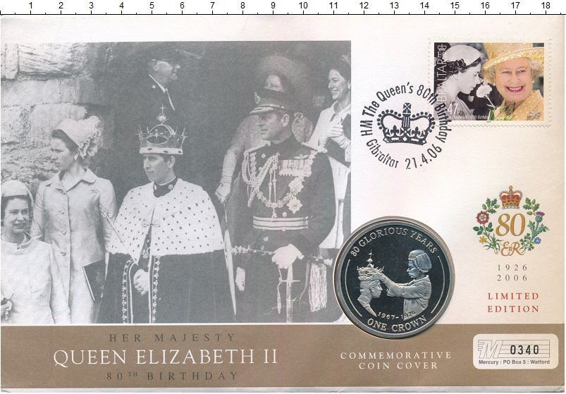 Изображение Подарочные монеты Гибралтар 1 крона 2006 Медно-никель UNC 80 лет со дня рожден