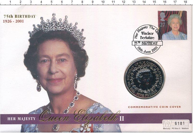 Изображение Подарочные монеты Гернси 5 фунтов 2001 Медно-никель UNC 75 лет Елизавета II.