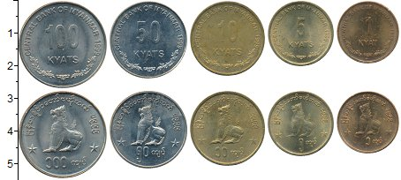 Изображение Наборы монет Мьянма 100 кьят 1999 Медно-никель XF В наборе 5 монет ном