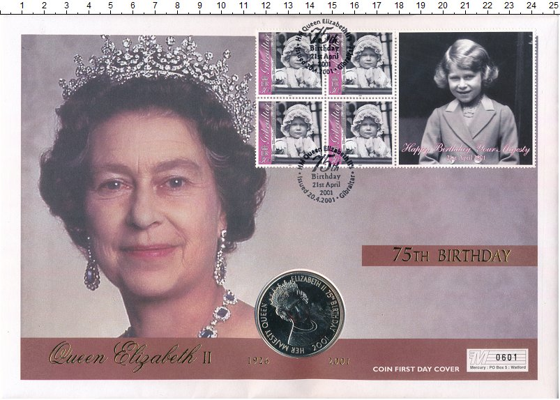 Изображение Подарочные монеты Тристан-да-Кунья 50 пенсов 2001 Медно-никель BUNC 75 летний Юбилей Ели