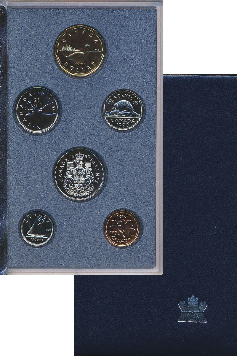 Изображение Подарочные монеты Канада Набор монет 1990 года 1990 Медно-никель Proof В наборе 6 монет ном