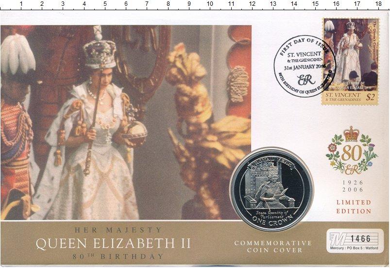 Изображение Подарочные монеты Гибралтар 1 крона 2005 Медно-никель Proof 80 лет Елизавете II.