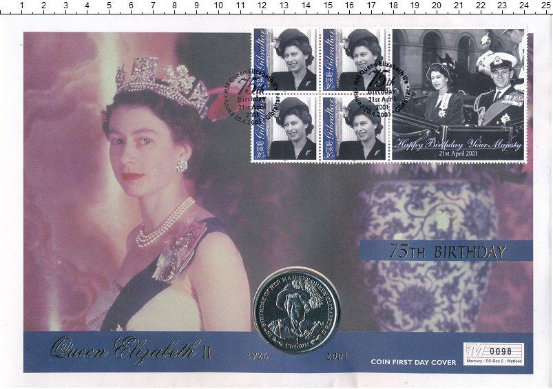 Изображение Подарочные монеты Гибралтар 1 крона 2001 Медно-никель UNC 75 лет Елизавете II.