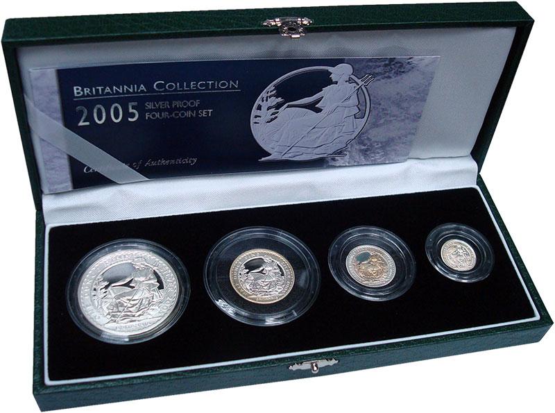 Изображение Подарочные монеты Великобритания Британния 2005 Серебро Proof- `В набор ``Британния