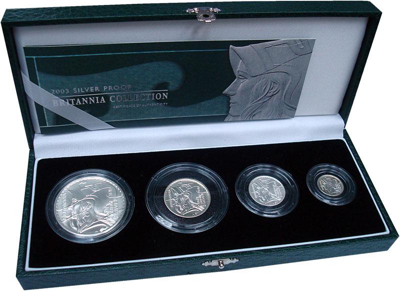 Изображение Подарочные монеты Великобритания Британния 2003 Серебро Proof- `В набор ``Британния