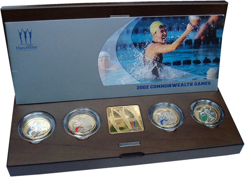 Изображение Подарочные монеты Великобритания Игры Британского содружества (Пьефор) 2002 Серебро Proof Набор посвящен XVII