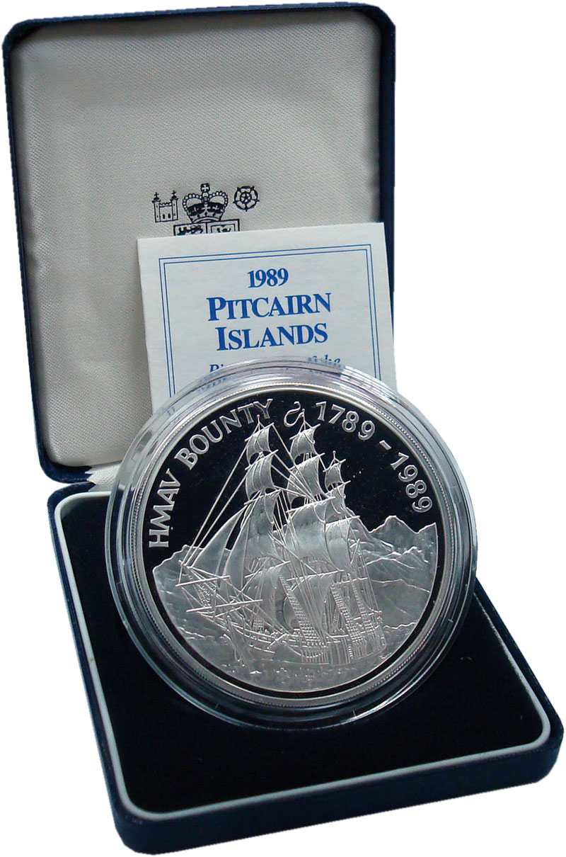 Изображение Подарочные монеты Острова Питкэрн 50 долларов 1989 Серебро Proof `200 лет Бунту на па