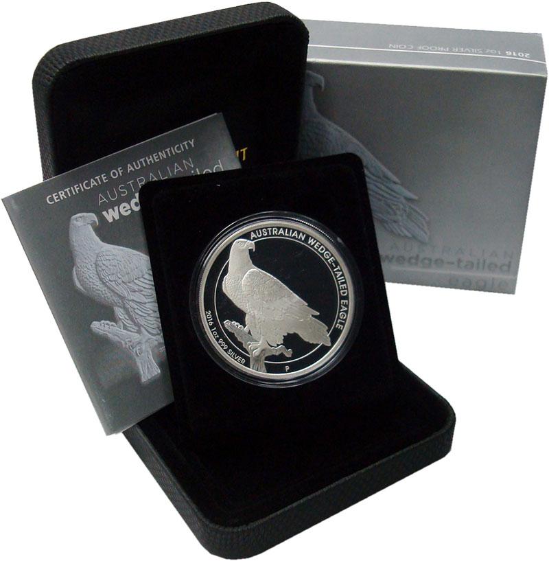 Изображение Подарочные монеты Австралия 1 доллар 2016 Серебро Proof Клинохвостый орёл. С