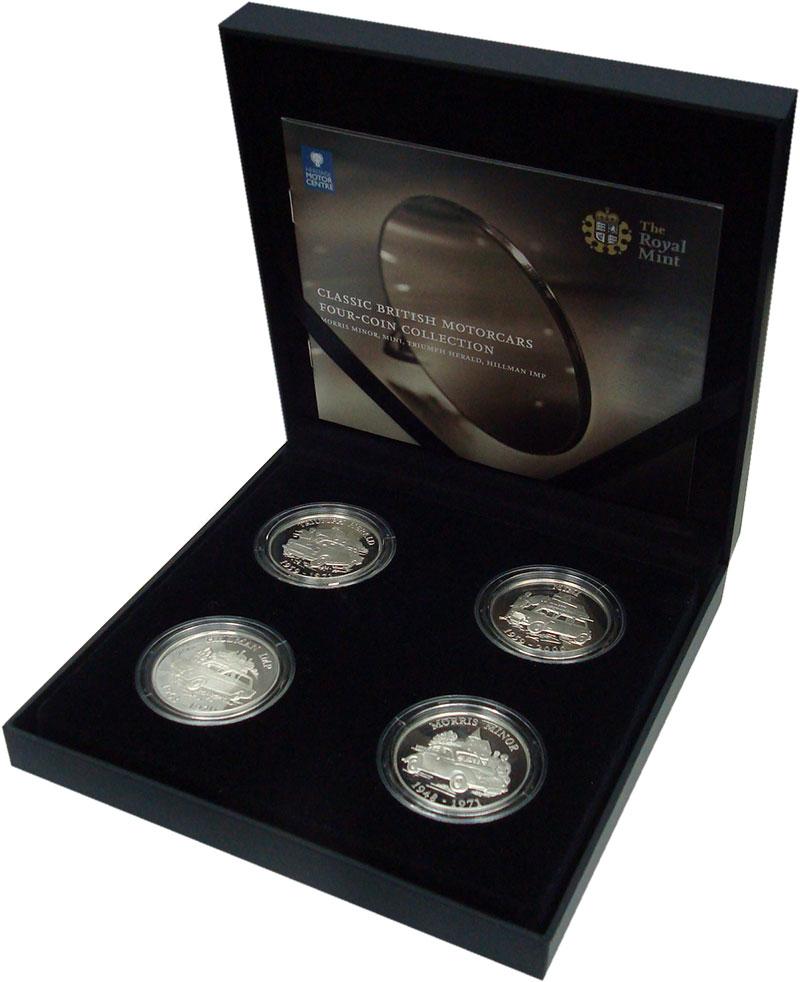 Изображение Подарочные монеты Олдерни Классика британского автостроения 2009 Серебро Proof `Набор из четырех мо