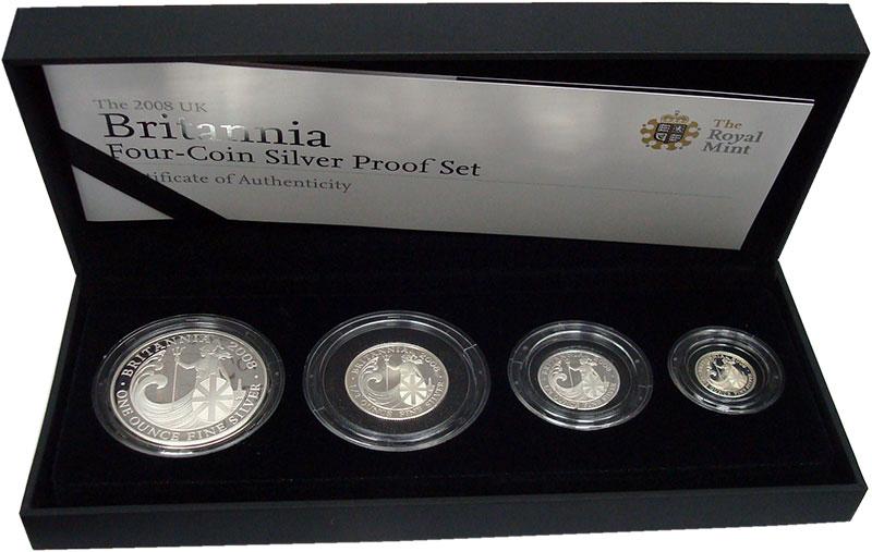 Изображение Подарочные монеты Великобритания Британния 2008 Серебро Proof- `В набор ``Британния