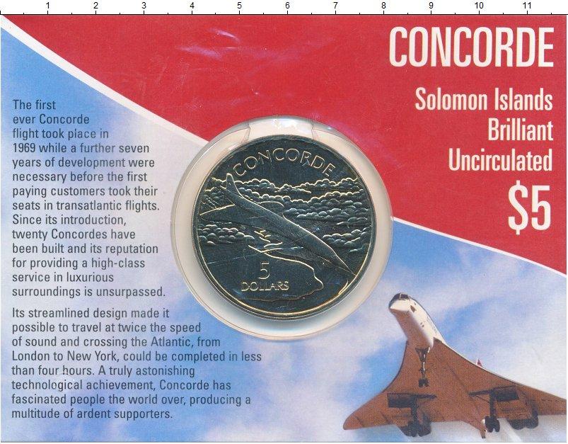 Изображение Подарочные монеты Соломоновы острова 5 долларов 2003 Медно-никель UNC Елизавета II. Конкор