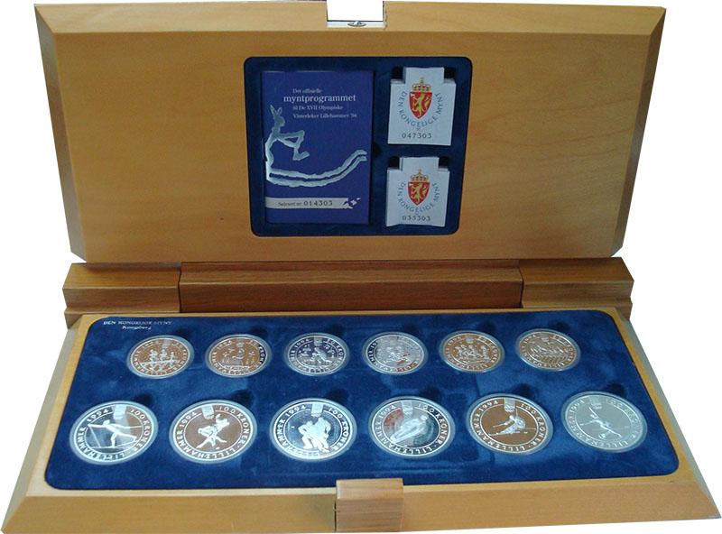 Изображение Подарочные монеты Норвегия XVII зимние Олимпийские игры 1994 года в Лиллехаммере 0 Серебро Proof Набор из 12 монет 19