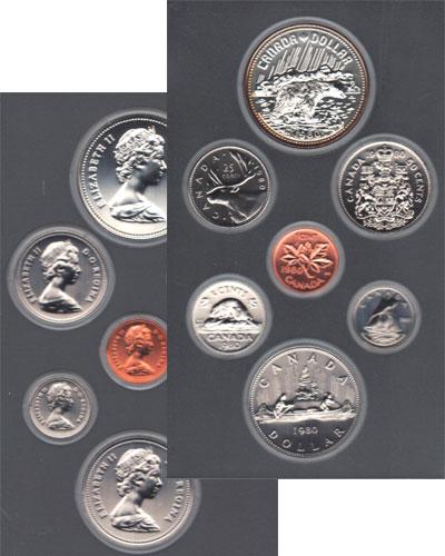 Изображение Подарочные монеты Канада Памятный набор 1980 1980  Prooflike Набор включает в себ