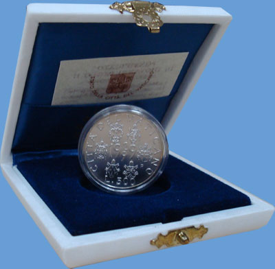 Изображение Подарочные монеты Ватикан 70-летие независимости Ватикана 1999 Серебро UNC Набор посвящен 70-ле