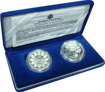 Изображение Подарочные монеты Сан-Марино Введение евро 2002 Серебро Proof Подарочный набор пос