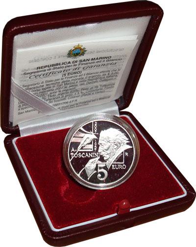 Изображение Монеты Сан-Марино 5 евро 2007 Серебро Proof Набор посвящен 50-ле
