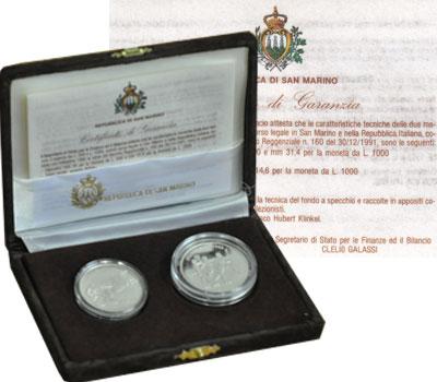 Изображение Подарочные монеты Сан-Марино Олимпийские игры 1992 года 1992 Серебро