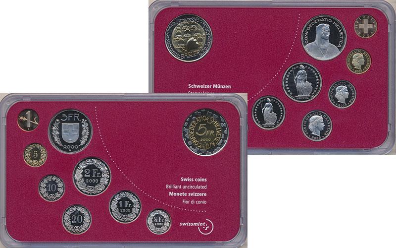 Изображение Подарочные монеты Швейцария Набор 2000 года 2000  BUNC В набор входит восем