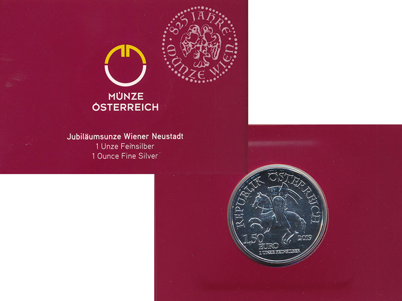 Изображение Подарочные монеты Австрия 1 1/2 евро 2019 Серебро UNC  Винер Нойштадт.<br