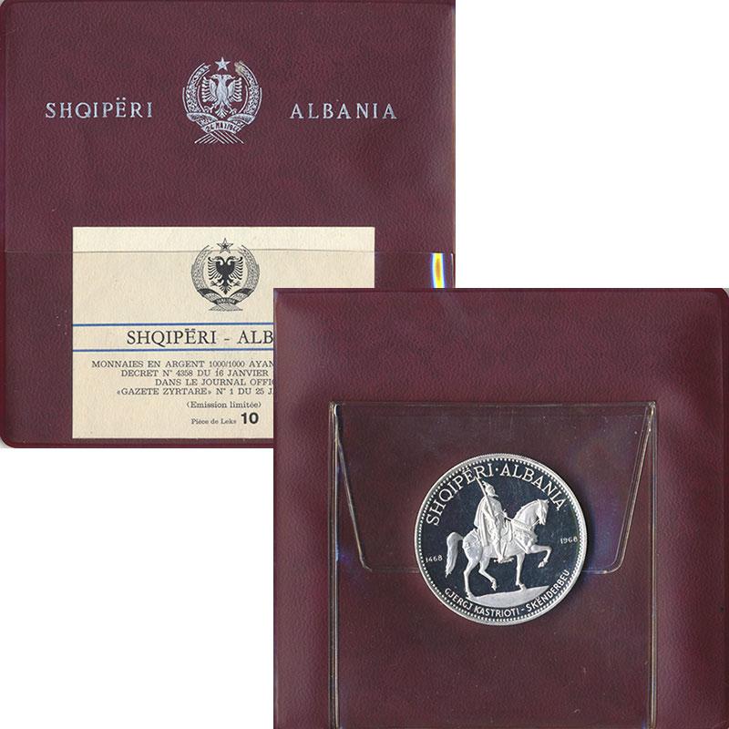 Изображение Подарочные монеты Албания 10 лек 1968 Серебро Proof 500 лет со дня смерт