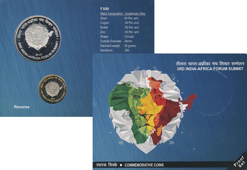Изображение Подарочные монеты Индия Африканско-индийский саммит 2015  Proof Третий Африканско-ин