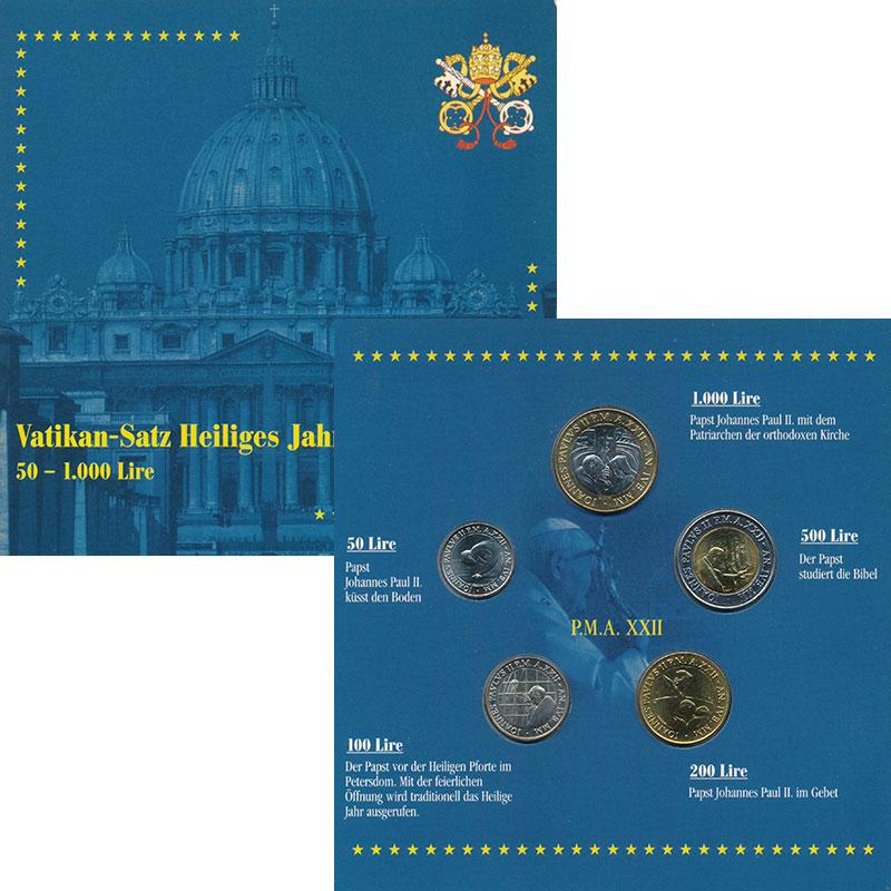 Изображение Подарочные монеты Ватикан Набор 2000 года 2000  UNC В набор входят пять