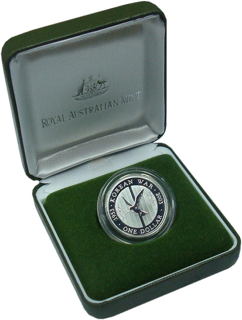 Изображение Подарочные монеты Австралия 1 доллар 2003 Серебро Proof 50 лет окончания Вой